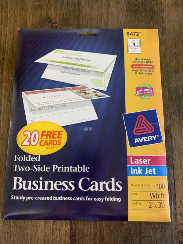 Avery 8472 Folded Two-Side Printable Business Cards Pack of 100 White-Fast Ship!