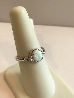 HALO DESIGN RING W/ LAB DIAMONDS / OPAL / SZ 5 - 9 / 925 STERLING SILVER (Design Opal Ring)