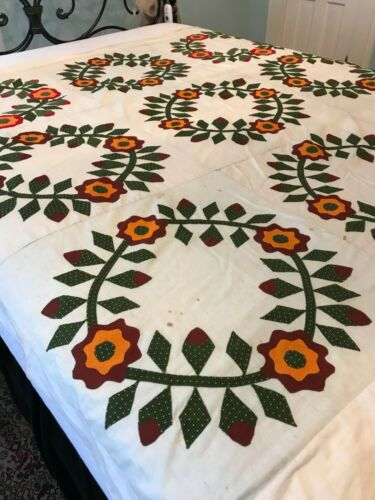 "Gorgeous Antique Applique Flower Wreath Quilt Top 68""x 68"" Brown Cheddar Green"