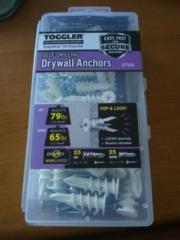 TOGGLER Snapskru 50-Pack self drilling Drywall Anchors no drill needed