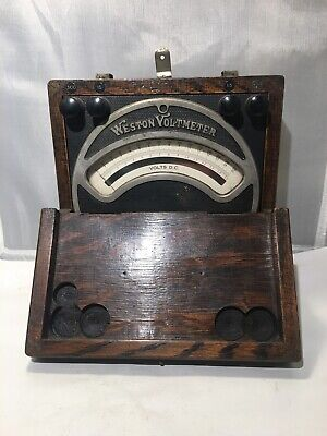 Antique Weston Electrical Instrument Model 45 1901 Oak Cased Voltmeter Original