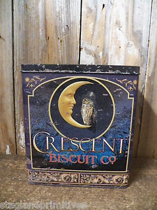 Vintage Look Tin Food Safe CRESCENT BISCUIT CO. Tin Canister Container Can