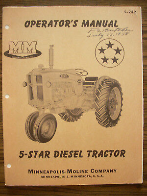 Mm Minneapolis Moline 5 Star Diesel Owners Manual