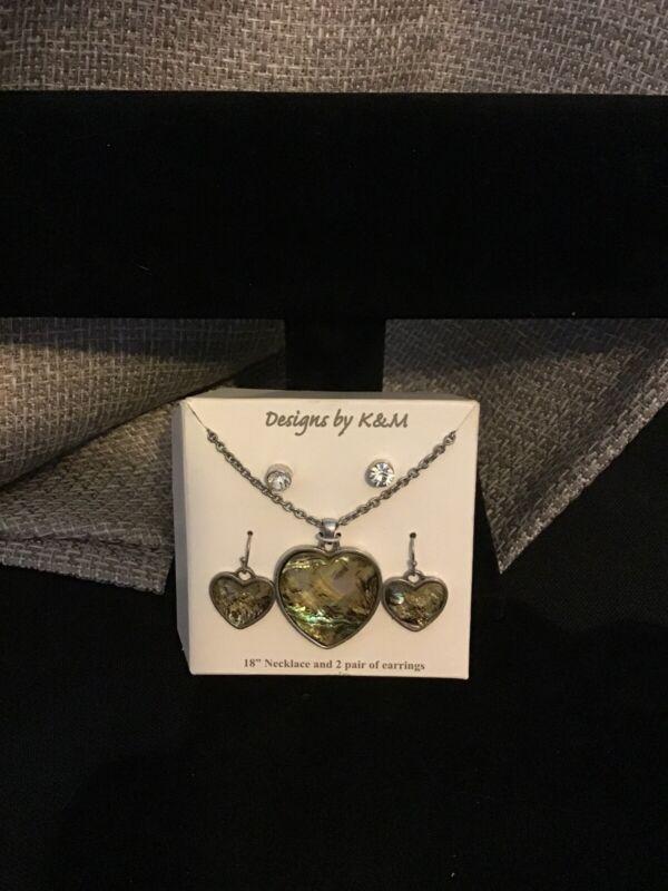 K & M Designs Jewelry Heart Set  Silver Tone Earrings 2 pr. & Necklace Jewelry