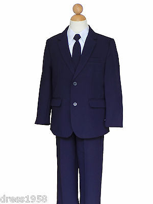 Boys Holiday, Recital, Ring Bearer, Navy Blue/White Suit, Sz: All Sizes](Boys Suites)