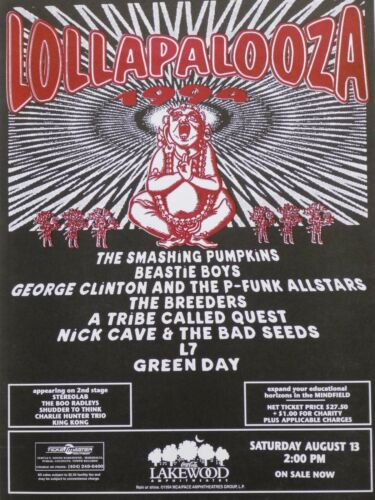 LOLLAPALOOZA 1994 ATLANTA CONCERT TOUR POSTER-Smashing Pumpkins,Beastie Boys,L7