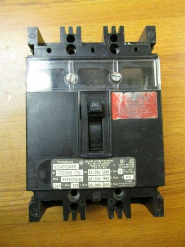 WESTINGHOUSE CIRCUIT BREAKER 3 POLE, 50 AMP, CAT# FB3050S ... WJ-116