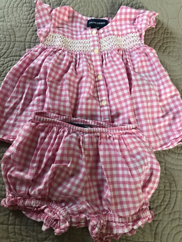 Ralph Lauren Layette Baby Girl 12 Months 2 Piece Set Blouse And Bloomers Euc