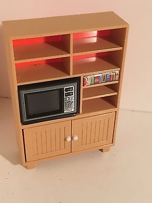 Dollhouse Miniatures Vintage Plastic TOMY Entertainment Center & TV 1:16 #9