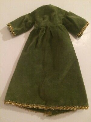 1960'S HANDMADE BARBIE GREEN VELOUR DRESS WITH GOLD TRIM-WITH WEAR-SEE PHOTOS
