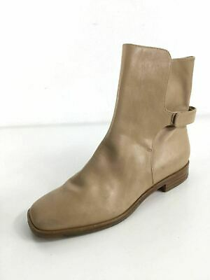 VIA SPIGA Vaughn Leather Ankle Boots Adj Velcro Closure Beig
