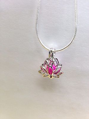 Make A Wish Necklace - Make a Wish Pearl Cage Pendant Necklace -Lotus Flower- 925 Chain+Pearl Included