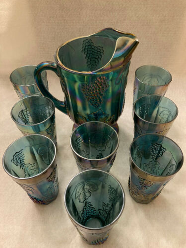CARNIVAL GLASS, IRIDESCENT-BLUE HARVEST GRAPE PITCHER SET W/ 8 TUMBLERS