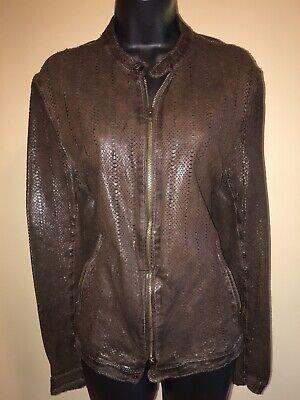 SALVATORE SANTORO Perforated Lambskin Leather Jacket Slim-Fit IT48/S-M $1200
