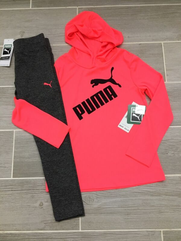 Puma Girls Outfit Pink Shirt & Gray Leggings Size 6 New NWT $42 Cute Spring