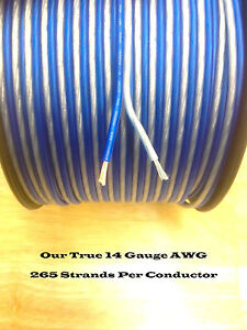100' feet TRUE 14 Gauge AWG Speaker Wire Car Home Audio Blue and Silver ft GA