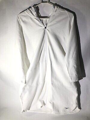 SPEEDO White Zip Hoodie Swim Cover-up Aquatic Fitness Robe with Hood Size (Hood Swimming)