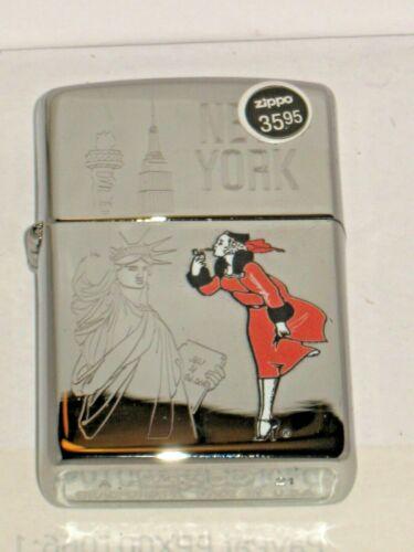 A New USA ZIPPO Windproof Lighter 80685 Windy in New York High Polish Chrome Cs