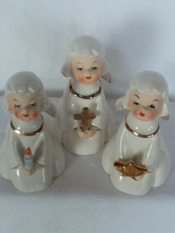 Vintage Set of 3 LEFTON ~ CHRISTMAS ANGELS~ White & Gold~ Star~Candle~Cross~TRIO