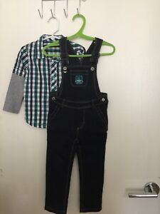 OLIVE SHIRT AND ROMPER, 2T
