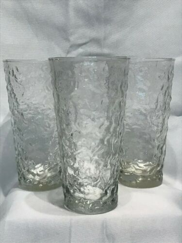 """SET OF 3 ANCHOR HOCKING CLEAR GLASS LIDO MILANO CRINKLE 6-3/4"""" COOLERS/TUMBLERS"""
