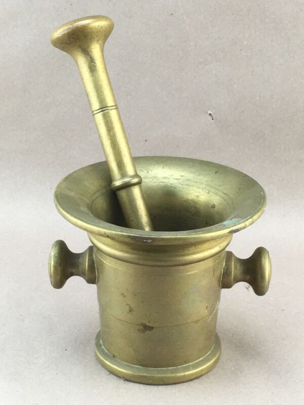 Heavy Antique Brass Mortar & Pestle with Lug Handles