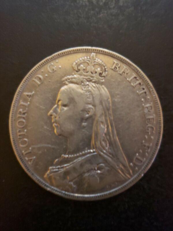 GREAT BRITAIN 1889 1 Crown Victoria Silver F-VF