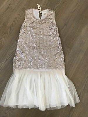 CAFFE D'ORZO STUNNING PARTY HOLIDAY ROSE GOLD GIRLS SEQUIN DRESS ITALY 10
