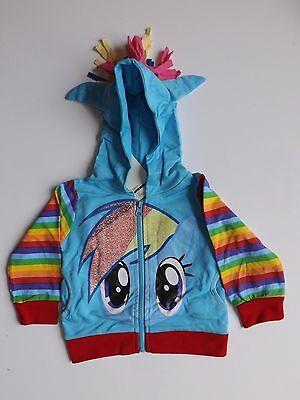 My Little Pony Rainbow Dash Girls Top Zip Sweat Shirt W/ Hood Blue Wing 1586708
