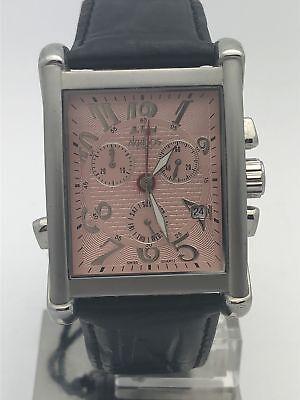 Akribos Men's Chronograph Pink Dial Black Leather Watch