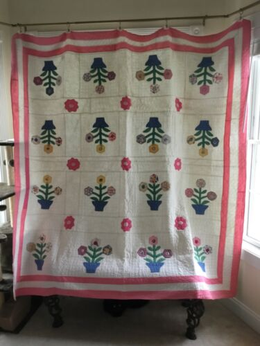"""LOVELY 1930's BASKET Of FLOWERS QUILT w/ DOUBLE BORDER!! 81"""" x 82"""""""