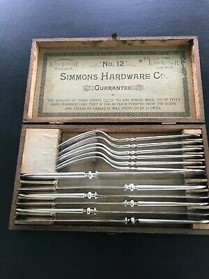 ANTIQUE SIMMONS HARDWARE SILVER-PLATED KEEN KUTTER KNIVES+FORKS, WOOD BOX No. 12