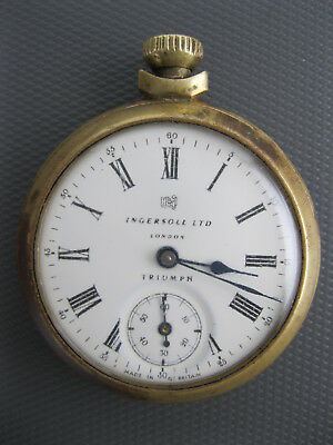 vintage antique TRIUMPH POCKET WATCH #573E INGERSOLL LTD made in BRITAIN