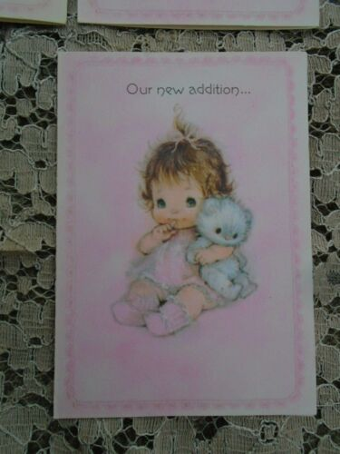 Vintage Baby Birth  announcement cards Pink Baby Girl with cat Pink Hallmark 7