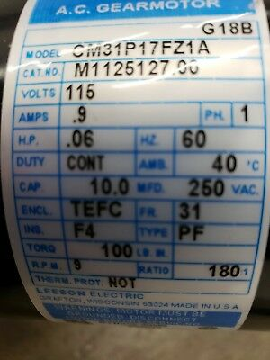 115hp Leeson 9rpm 115vac 1ph Gearmotor M1125127 With Conduit Box M1760021