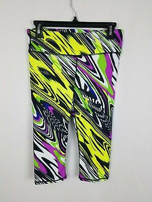 FABLETICS Bright Neon Green Purple Graphic Capri Stretch Leggings XS EUC