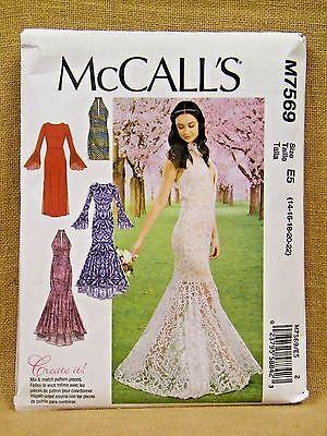 MCCALLS PATTERN 7569  DRESSES HALTER MERMAID  MISSES SIZES 14 16 18 20 22  UNCUT
