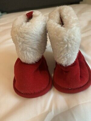 Koala Kids 0-6 Month Baby Santa Boots Shoes Red White Girls Boys Unisex Infant