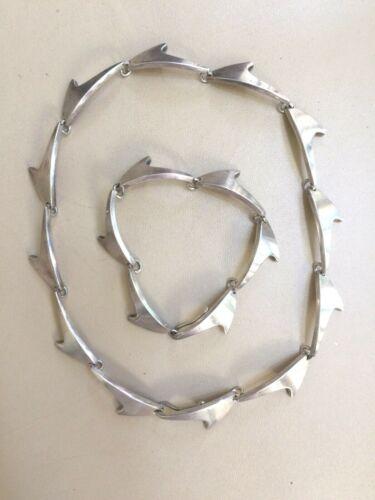 Bent Knudsen Vintage Sterling Silver Necklace and Bracelet Set Denmark
