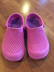 Pink croc like shoes size 12