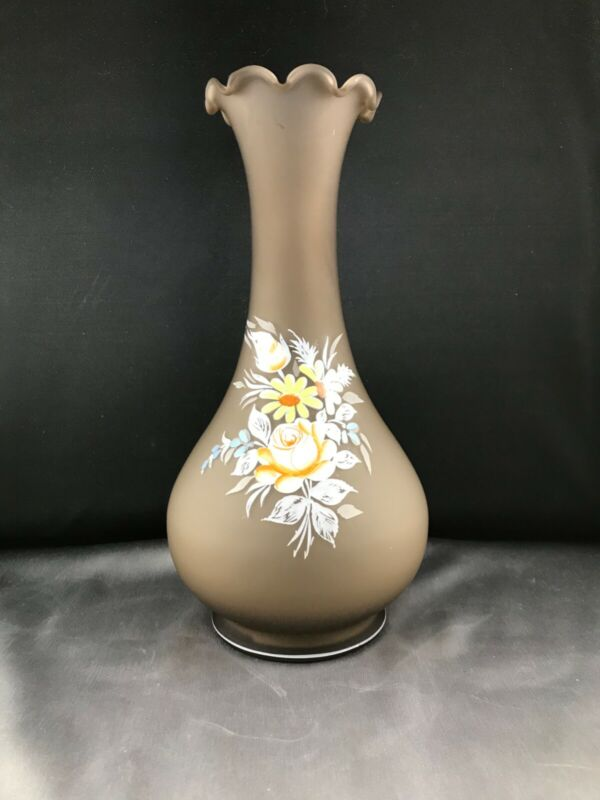 Vintage Westmoreland Brown Mist Satin Glass Hand Painted Rose Vase 1902-8