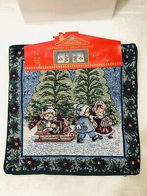 Xmas Children Riding Sled Decor Woven Tapestry Cushion Cover Azar Ind 16 x 16
