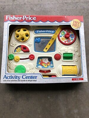 Vintage Fun ©1993 Fisher-Price Crib ACTIVITY CENTER #1175 Toy Busy Box w/ Straps