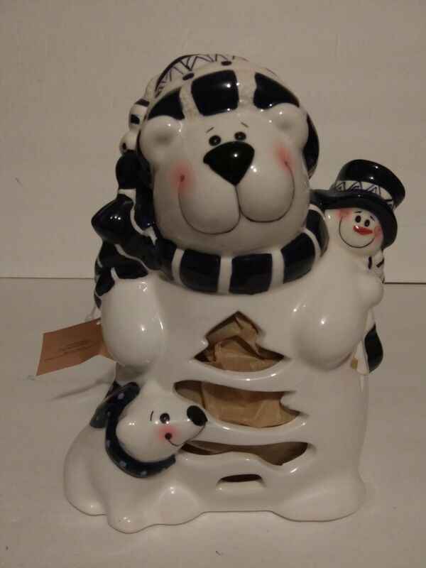 "Crazy Mountain Snowman Tea LightVotive Candle Holder 7"" NWT ~ Christmas"