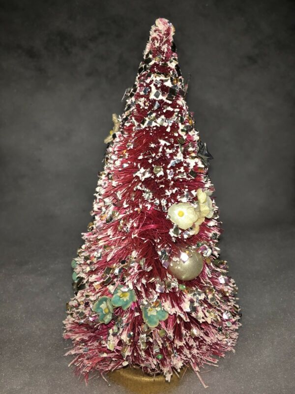 Vintage Bottle Brush Christmas Tree PINK Mercury Beads Foil Flowers White Tip