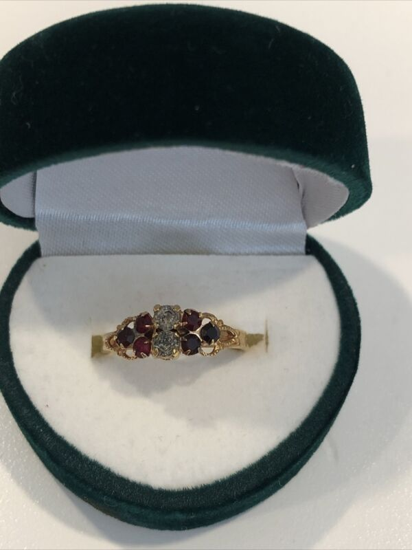 Vintage SARAH Coventry Retro Red Clear Rhinestone Gold Tone Ring Adjustable