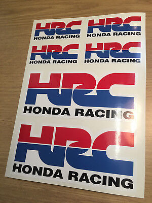 6 x HONDA RACING HRC Stickers Decals Printed Quality Non OEM