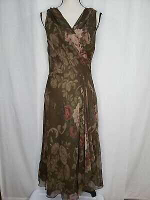 Lauren Ralph Lauren Size 6 Dress Sleeveless Green Silk Floral Lined Wrap Bodice