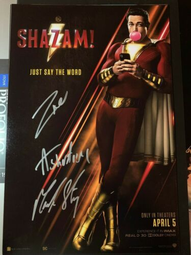 ZACHARY LEVI ASHER ANGEL SIGNED SHAZAM PHOTO 12X18 AUTOGRAPH MARK STRONG