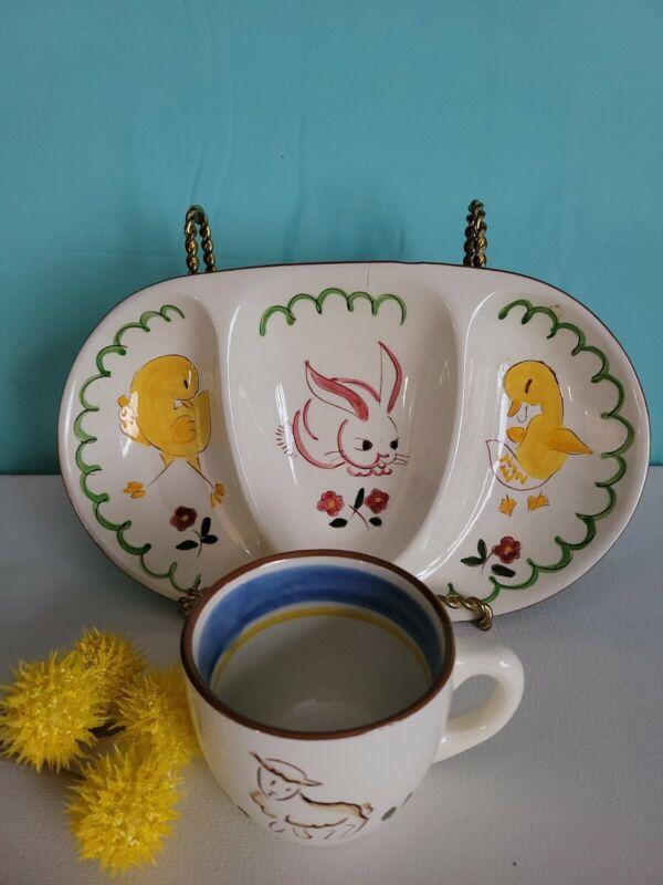 Stangl Pottery Kiddieware Barnyard Series - Divided Plate and Mug